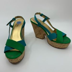 KATE SPADE penny cork wedge slingback sandals